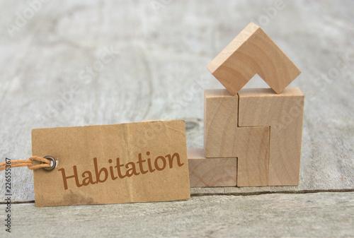 Foto  habitation, sur écriteau ,maison en bois concept