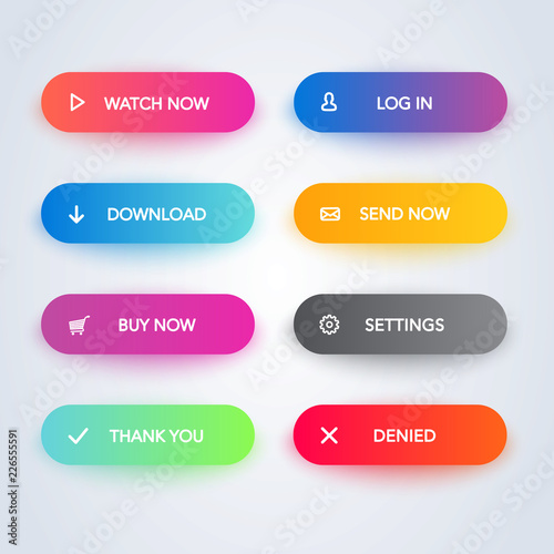 Obraz Set of vector modern material style buttons. Different gradient colors and icons with shadows. - fototapety do salonu