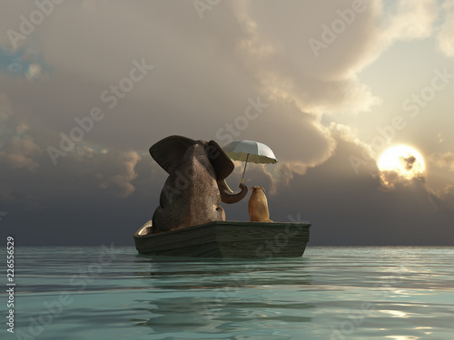 elephant and dog are floating in a boat