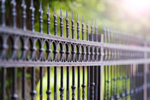 Metal Black Fence With Gold El...