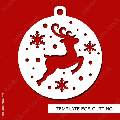 christmas decoration deer silhouette in a ball with snowflakes