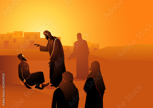 Fototapeta Jesus heals the man with leprosy