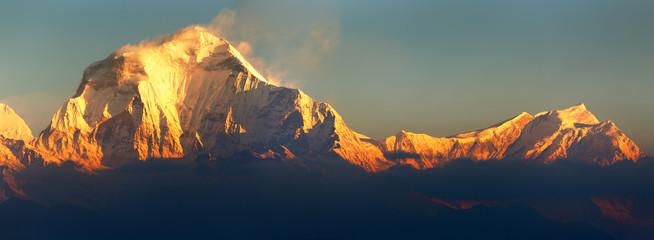 Mount Dhaulagiri morning panoramic view