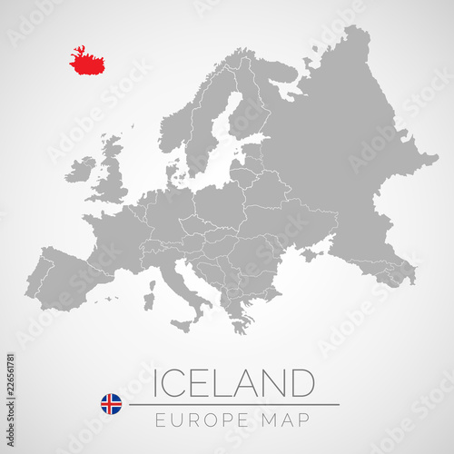 Map of European Union with the identication of Iceland Canvas Print