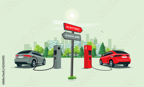 Fotomural Vector illustration comparing electric versus gasoline car with directional sign