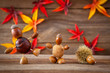 canvas print picture - autumn tinker figures on wooden background