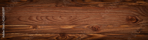 Türaufkleber Holz Wooden background with copyspace, brown striped timber desk, old table or floor