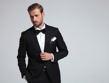 Sexy Elegant Man Wearing Tuxed...