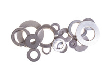 New Washers And Spring Washers, Solated White Background