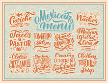 Mexican Menu Lettering With Traditional Food Names Guacamole, Enchilada, Tacos, Nachos And More. Vector Vintage Illustration. Background For Restaurant, Cafe, Showcase, Storefront Design