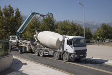 Concrete Mixer Truck In Construction Site.