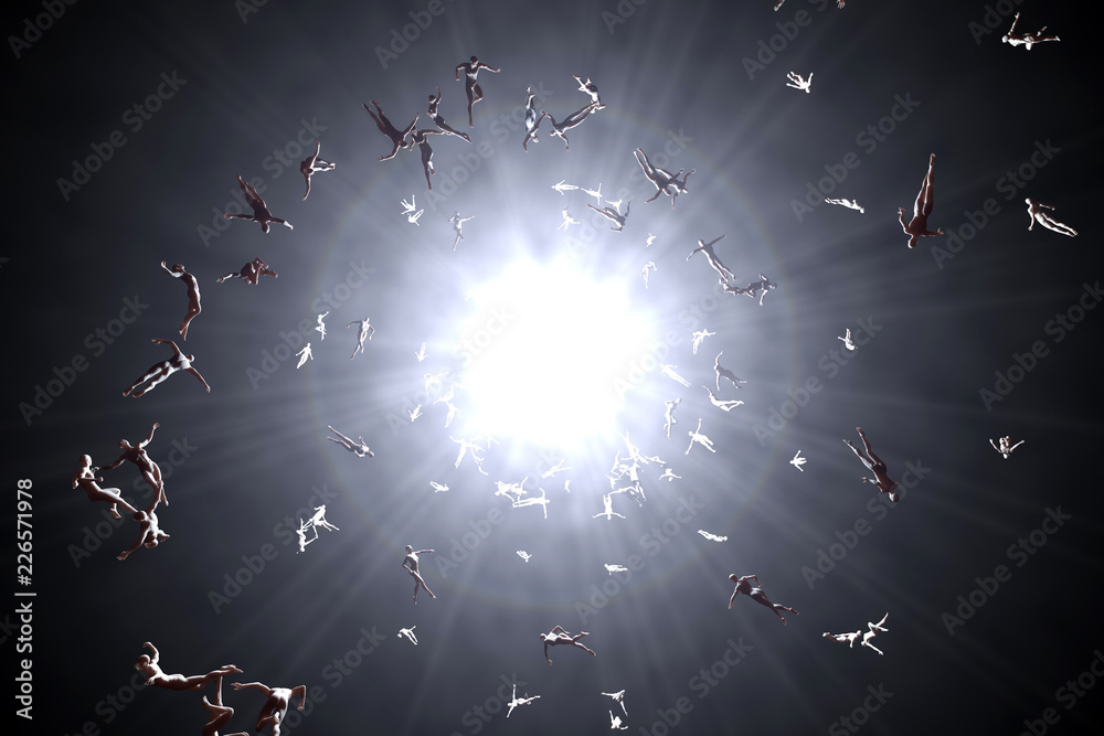 Fototapeta 3D rendered illustration of Souls of deceased People streaming into the white light and afterlife of heaven.