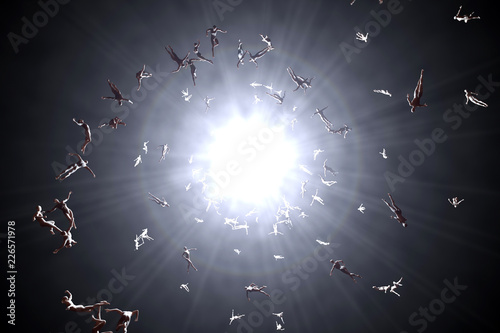 3D rendered illustration of Souls of deceased People streaming into the white light and afterlife of heaven Canvas Print