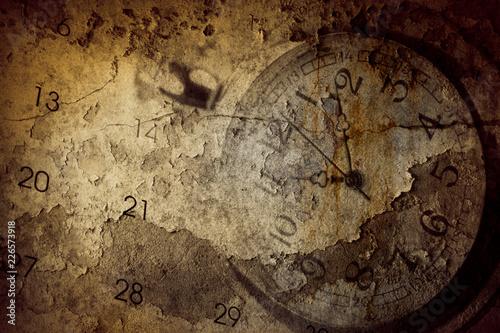 Papiers peints Retro Grunge clock and calendar