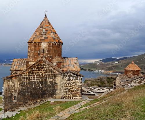 Foto op Aluminium Oude gebouw The ancient Sevanavank monastery, Sevan, Armenia
