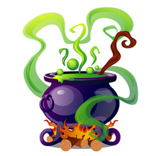 Steel Cauldron With Boiling Green Magic Potion Isolated On White Background. Sketch For A Poster Or Card For The Holiday Of All Evil Spirits Halloween. Vector Cartoon Close-up Illustration.