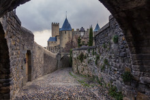 Medieval, Cobblestone Street In Carcassonne, The Largest Walled City In Europe (France)