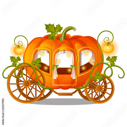 Vintage horse carriage of pumpkin with florid ornament isolated on white background Canvas Print