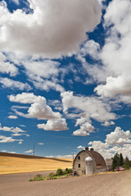 A Barn With A Silo In The Palouse Region Of Pullman, WA