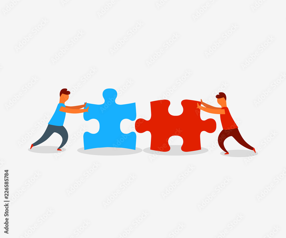 Fototapeta Two flat style people connecting puzzle elements. Business, teamwork and partnership concept. Vector illustration