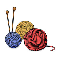 Balls Of Different Colors Of Wool For Knitting And Knitting Needles. Colorful Vector Illustration In Sketch Style.