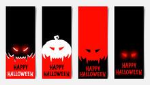 Happy Halloween Poster Vertical Mockups, Halloween Party Festive Flyer Flat Vector Background