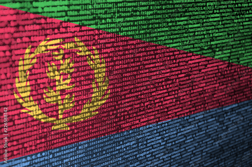 Fototapeta Eritrea flag  is depicted on the screen with the program code. The concept of modern technology and site development