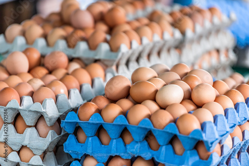 Fototapeta Closeup of many trays of farm fresh brown and white multicolored eggs on display in farmer's market in London, UK obraz