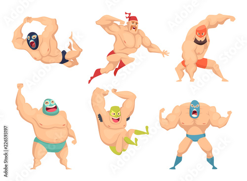 Obraz Lucha libre characters. Mexican wrestler fighters in mask macho libros vector martial cartoon mascot. Illustration of mexican wrestler, fighter wrestling combative - fototapety do salonu