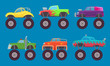 Monster truck cars. Automobiles with big wheels creature auto toy for kids vector pictures isolated. Illustration of 4x4 truck car, model toy motor