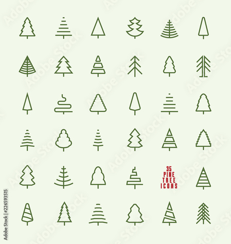 Obraz Thin Line Pine Tree Icon Set - A collection of 35 christmas tree line icon designs on light background - fototapety do salonu