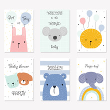 Set Of Baby Shower Cards With Cartoon Funny Animals. Cute Party Invitations. Vector Hand Drawn Illustration.