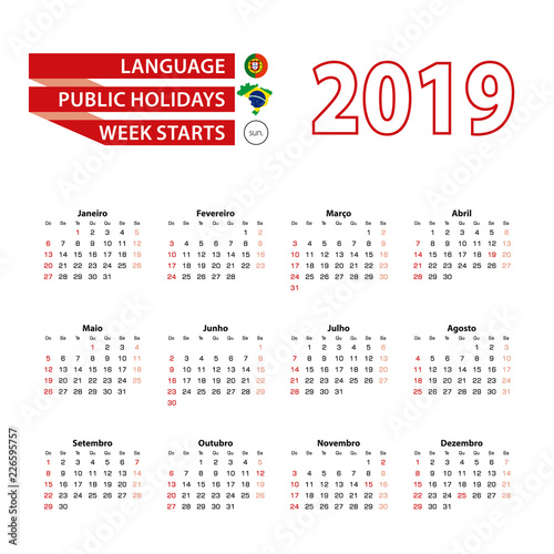 Foto  Calendar 2019 in Portuguese language with public holidays the country of Brazil in year 2019