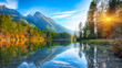 canvas print picture - Fantastic autumn sunset of Hintersee lake