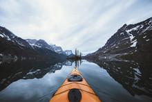 Kayak At Lake, Glacier National Park, Montana, USA