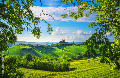 Photo Langhe vineyards sunset panorama, Serralunga Alba, Piedmont, Italy Europe