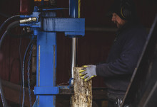 Side View Of Manual Worker Cutting Log Using Machinery At Factory