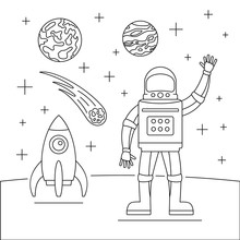 Hello Spaceman Concept Background. Outline Illustration Of Hello Spaceman Vector Concept Background For Web Design