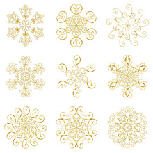 Snowflakes Icons Gold Set Collection Isolated On White Background.