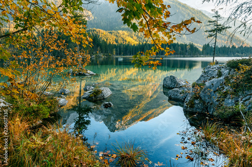 Wonderful Autumn Landscape. Summer mountain Scenery. Sunny Day on Hintersee Lake. Majestic Mountains, reflected in Water. Beauty in the nature. Nationalpark Berchtesgadener Land, Bavaria, Germany