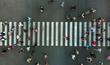 Leinwanddruck Bild - Aerial. Pedestrian crossing.