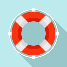 Life Buoy Solution Icon. Flat ...