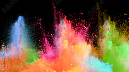 plakat Multi-color powder explosion on black background