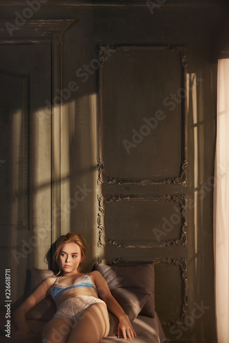 Foto op Aluminium womenART Erotic portrait of young beautiful woman in sexy lingerie