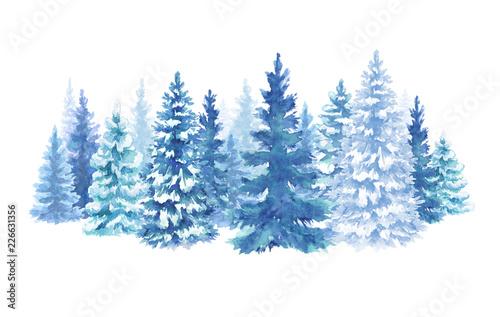 akwarela śnieżny las ilustracja, choinki jodła, zimowa przyroda, drzewo iglaste, tło wakacje, wiejski krajobraz, scena na zewnątrz, na białym tle