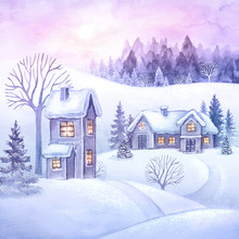 Winter Countryside View, Christmas Village, Snowy Forest, Rural Landscape Panorama, Watercolor Fairy Tale Illustration