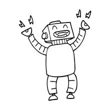 Line Drawing Cartoon Happy Robot