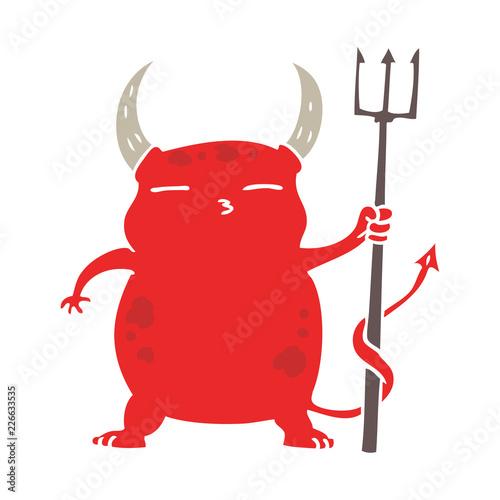 flat color style cartoon little devil Tableau sur Toile