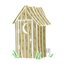 Flat Color Style Cartoon Traditional Outdoor Toilet With Crescent Moon Window