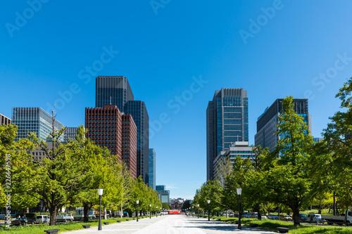 Photo (東京都ー都市風景)大手町広場から見る丸の内ビル風景1